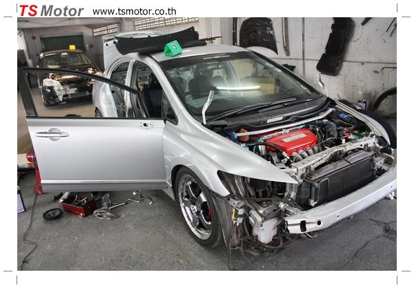 IMG 2755 TS Motor งานเปลี่ยนสีรถยนต์ Honda Civic FD สีแดง พร้อมเจาะแก้มลาย2 จัดกันแบบเต็มๆ Step 1 ถึงจบ
