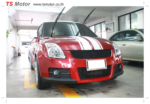 อู่ซ่อมสี ศูนย์ซ่อมสี Susuki Swift  สีแดง พ่นสี เก็บสีกันชน ชิ้นส่วน โดย ศูนย์ซ่อมสีรถ TS Motor