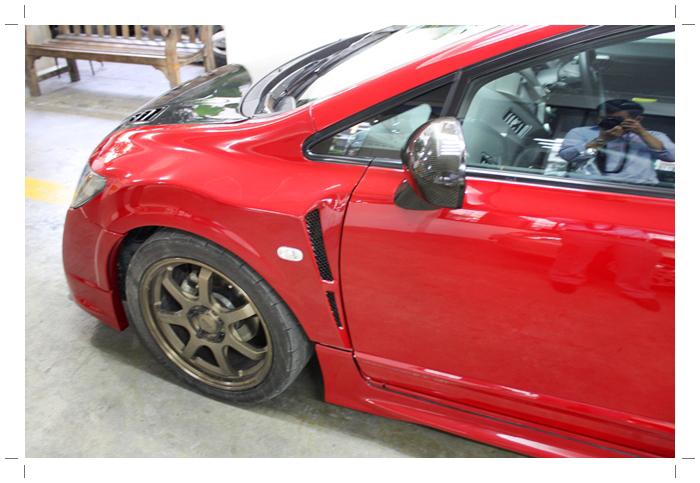 IMG 8986 TS Motor งานซ่อมสีรถยนต์ Honda Civic Mugen RR + เก็บสีชุดแต่ง Feels สีแดง RR