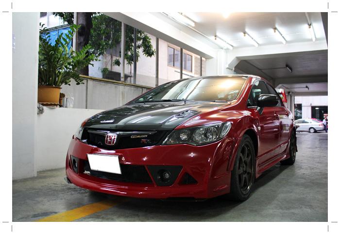 IMG 8987 TS Motor งานซ่อมสีรถยนต์ Honda Civic Mugen RR + เก็บสีชุดแต่ง Feels สีแดง RR