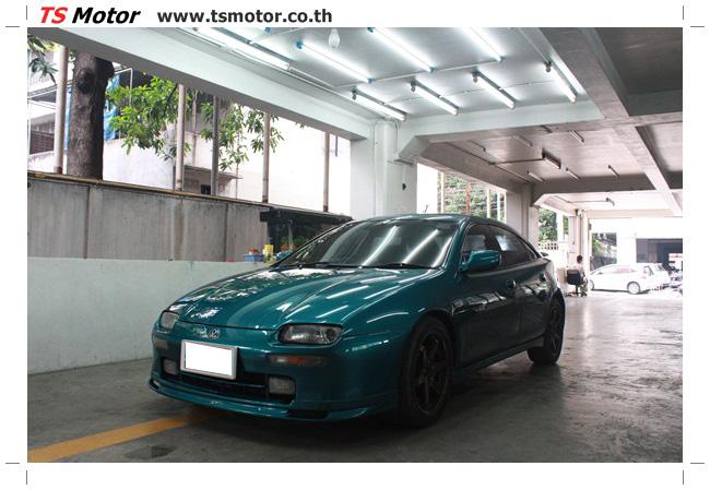 IMG 5034 งานซ่อมสีรอบคัน Mazda 323 สีฟ้า ซ่อมสีแตก สีไม่เงา เก็บงานตัวถังจากการชน