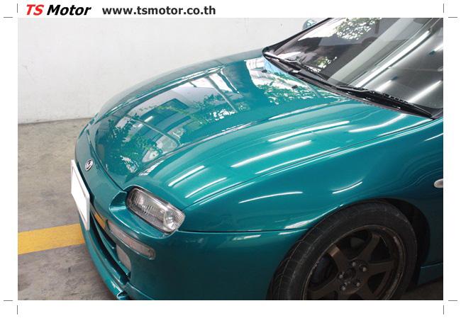 IMG 5036 งานซ่อมสีรอบคัน Mazda 323 สีฟ้า ซ่อมสีแตก สีไม่เงา เก็บงานตัวถังจากการชน