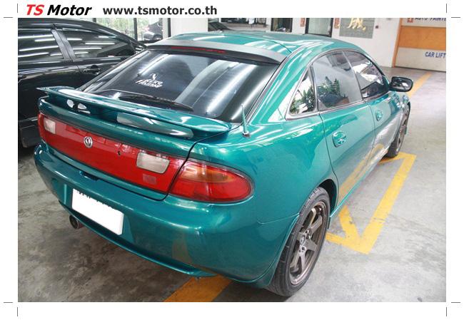 IMG 5039 งานซ่อมสีรอบคัน Mazda 323 สีฟ้า ซ่อมสีแตก สีไม่เงา เก็บงานตัวถังจากการชน