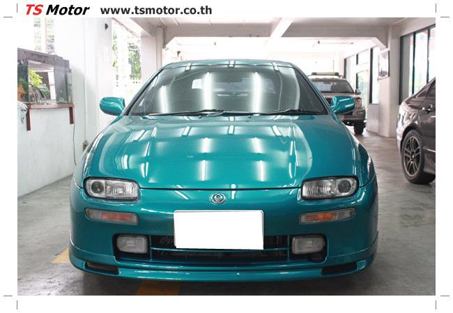 IMG 5042 งานซ่อมสีรอบคัน Mazda 323 สีฟ้า ซ่อมสีแตก สีไม่เงา เก็บงานตัวถังจากการชน