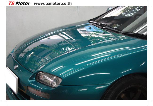 IMG 5046 งานซ่อมสีรอบคัน Mazda 323 สีฟ้า ซ่อมสีแตก สีไม่เงา เก็บงานตัวถังจากการชน