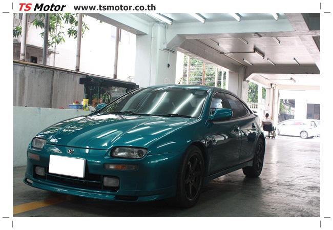 IMG 5047 งานซ่อมสีรอบคัน Mazda 323 สีฟ้า ซ่อมสีแตก สีไม่เงา เก็บงานตัวถังจากการชน