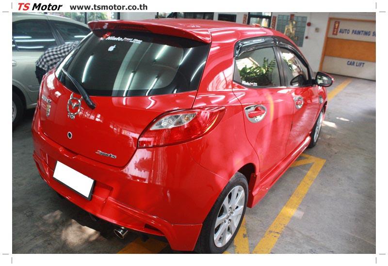 IMG 6164 อู่ สี รถ มาสด้า 2  งานซ่อมสี ตัวถัง กันชน เสกิร์ต ชิ้นส่วนต่างๆ Mazda 2  สีแดง