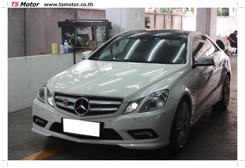 IMG 6333 งานซ่อมสีบังโคลนหน้า กันชน เปลี่ยนไฟหน้า Mercedes Benz E250 Coupe สีขาว