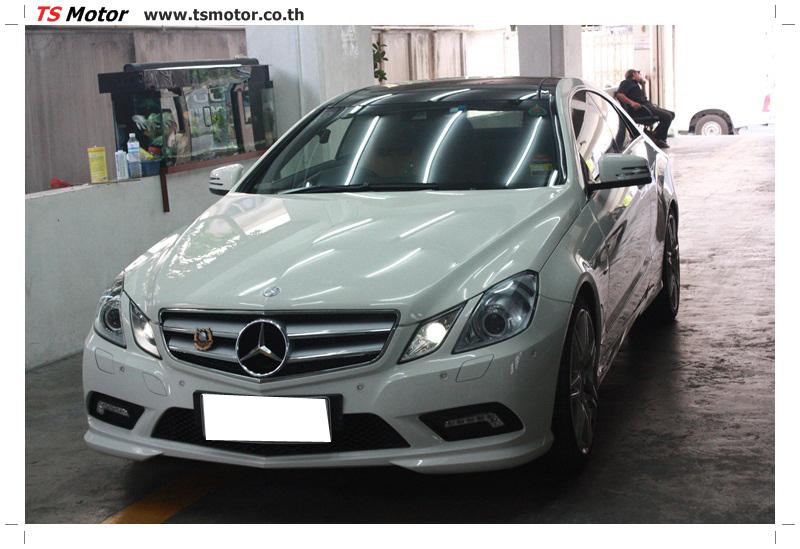 IMG 6334 งานซ่อมสีบังโคลนหน้า กันชน เปลี่ยนไฟหน้า Mercedes Benz E250 Coupe สีขาว