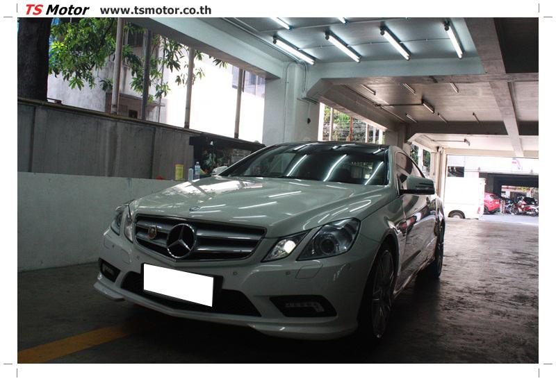 IMG 6336 งานซ่อมสีบังโคลนหน้า กันชน เปลี่ยนไฟหน้า Mercedes Benz E250 Coupe สีขาว