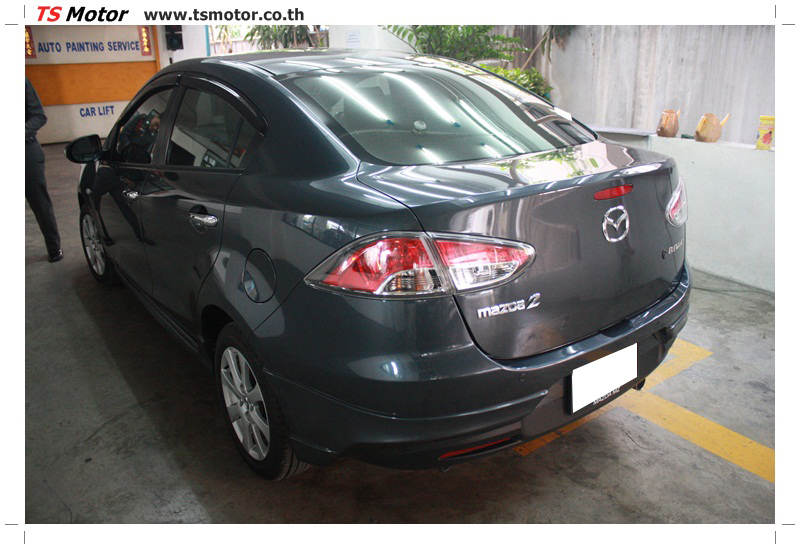 IMG 6466 ผลงานทำสีรถ มาสด้า2  เข้ามาเคลมประกัน เก็บสีต่างๆ Mazda 2  สีเทาดำ